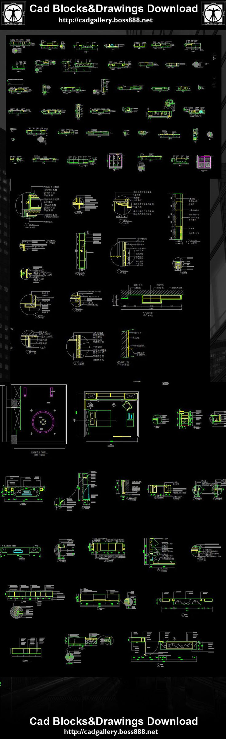 Interior Design Details,Interior Design Autocad drawings downloadable in dwg  files,Architecture & interior