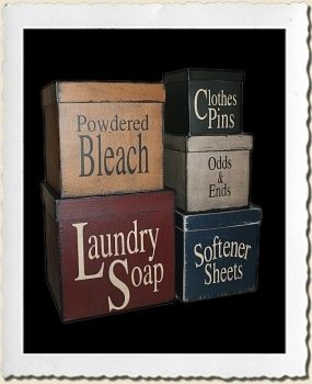 Vintage canisters for laundry room