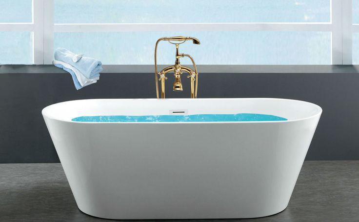 "Zoe Freestanding Acrylic Tub in White | 59"""