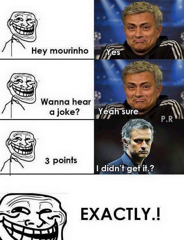 Hey Mourinho chcesz usłyszeć żart? • Śmieszny żart z Jose Mourinho o 3 punktach • Trener Chelsea nie czai żartu • Wejdź i zobacz >> #mourinho #funny #football #soccer #sports #pilkanozna