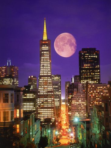 San Francisco: Cityscapes, San Francisco California, Buckets Lists, Cities, The Bays, Sanfrancisco, Transamerica Building, Full Moon, The Moon