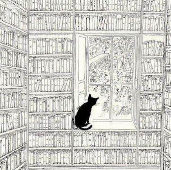 black cat - Jean Jacques Sempe//