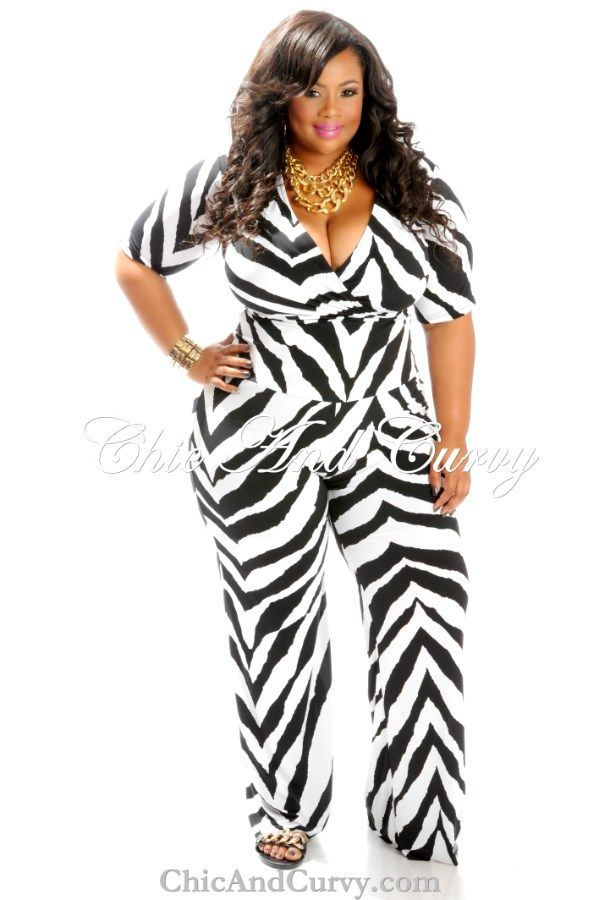 New Arrival: New Plus Size Jumpsuit with Back Zipper in Black and White Zebra Print New Arrival: http://www.chicandcurvy.com/jumpsuits/product/10164-new-plus-size-jumpsuit-with-back-zipper-in-black-white-zebra-print-1x-2x-3x Model: Janna Plus Model