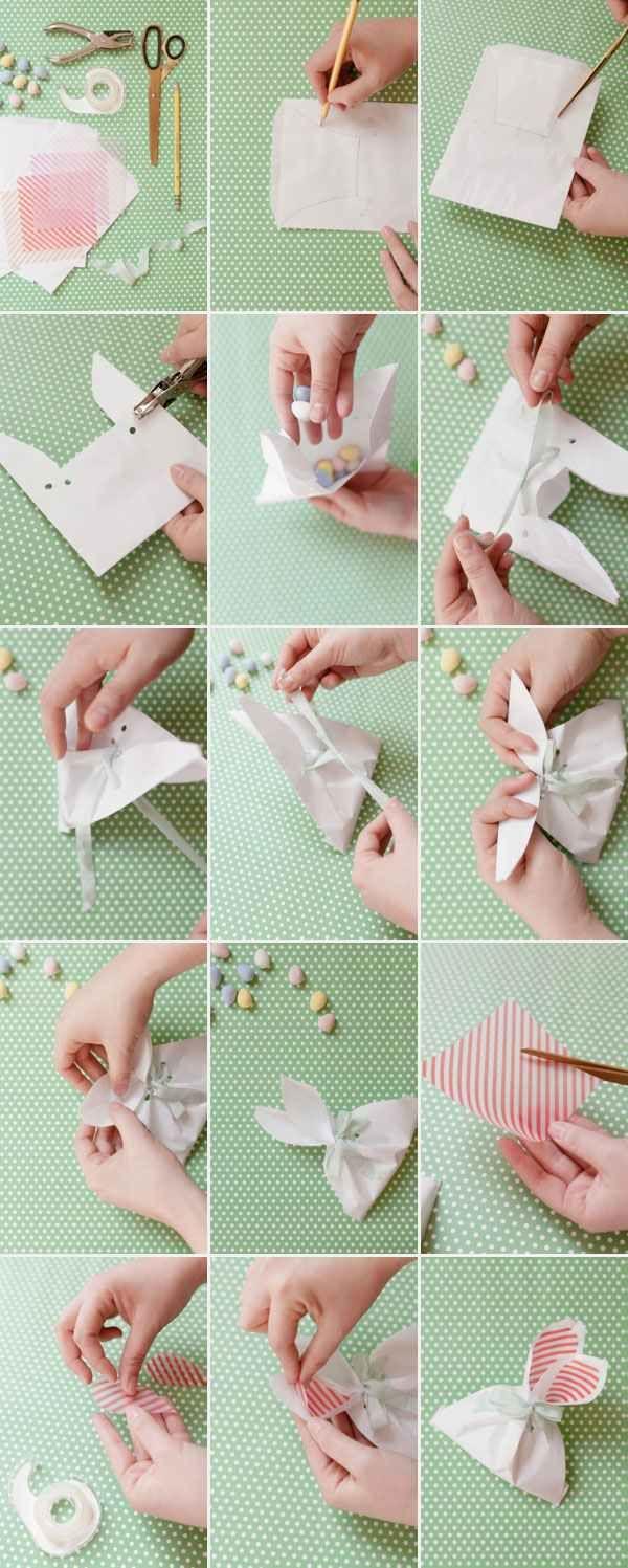 ostergeschenke für kinder ideen tüten bonbons hasenohren