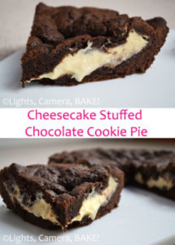 This Cheesecake Stuffed Chocolate Cookie Pie is a rich, chocolate cookie filled to the brim with a sweet, vanilla cheesecake. This ooey, gooey dessert will be an instant crowd pleaser! Click the photo for the #recipe . #cookiepie #cheesecakecookiepie