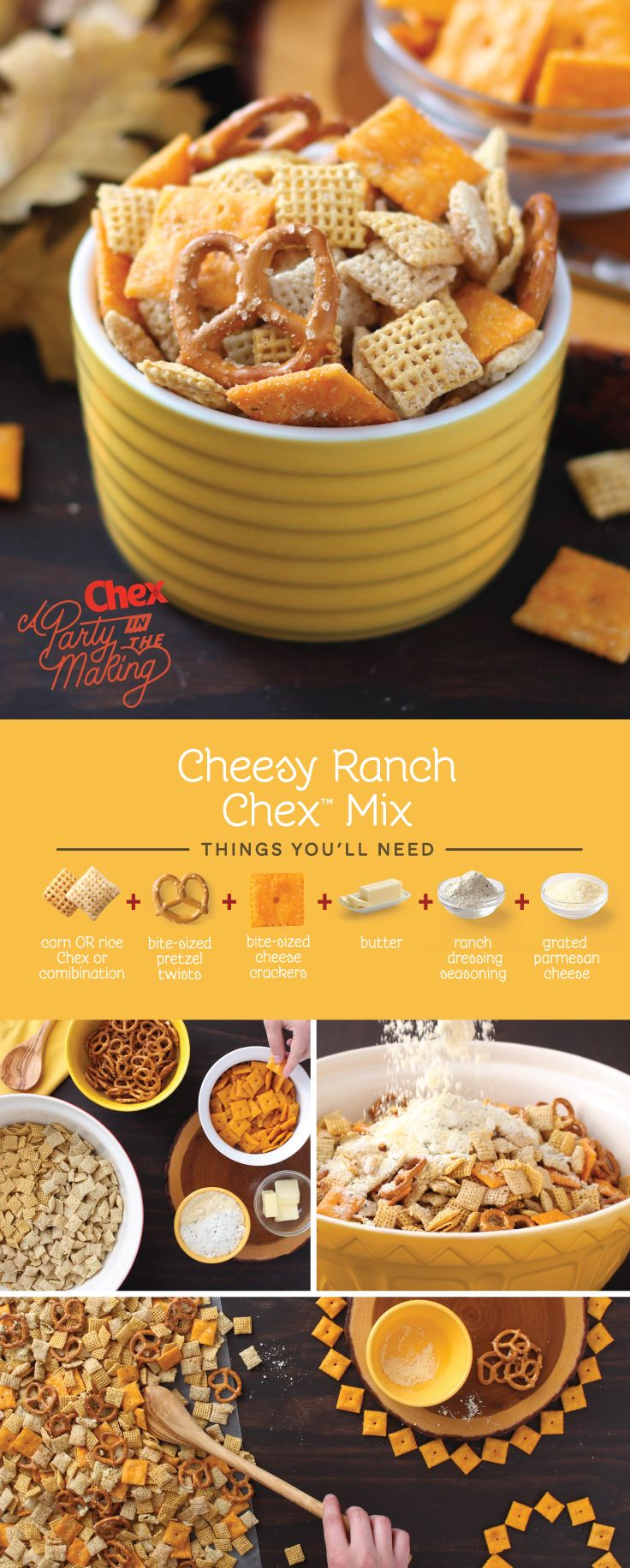Cheese lovers, this one's for you. Homemade Cheesy Ranch Chex Mix doubles down on cheesy goodness with crunchy cheese crackers and a generous sprinkle of parmesan cheese.
