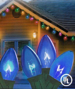 Set Of 25 Transparent Blue C7 Christmas Lights - Green Wire by Everstar. $9.99. Set of 25 Blue C7 Christmas lightsItem #ES76-952Features:Color: Transparent blue color bulbs / green wireUL Listed for indoor/outdoor use.If one or more bulbs burn out, others stay lit.String to string - end connectors allow you to connect multiple sets togetherBulbs easily screw in and out, making replacing burnt out bulbs or changing colors an easy taskGlass bulbsLighted length: 24...