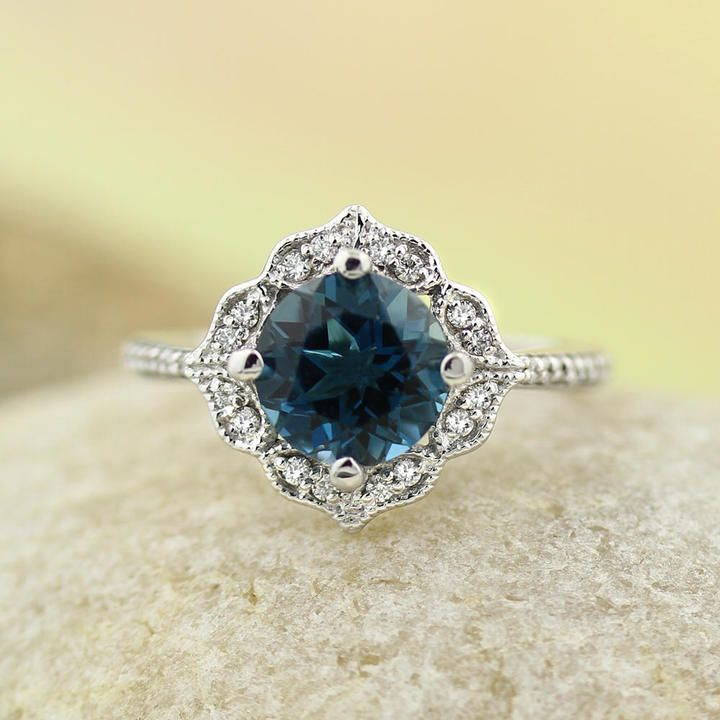 Etsy AAA London Blue Topaz Engagement Ring Diamond Wedding Ring Vintage Floral Ring In 14k White Gold Gem #affiliatelink