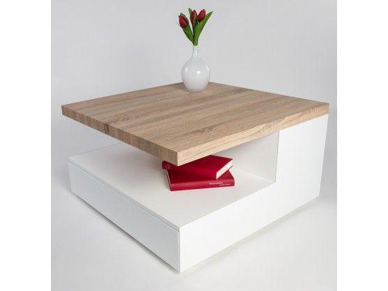 Table basse blanche laquée et bois de chêne Elena