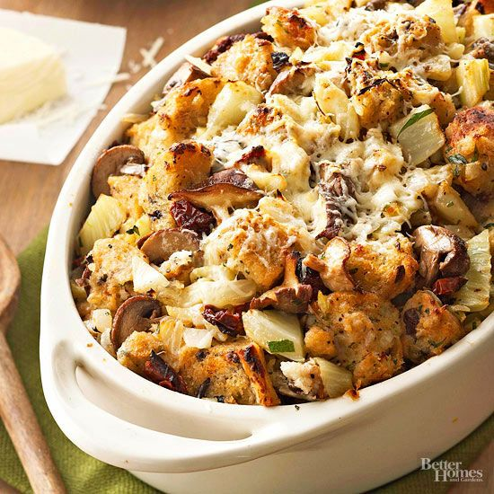 Artisanal olive bread, buttered mushrooms, and a sprinkling of fresh herbs come together to give deep rustic flavor to this Thanksgiving stuffing.