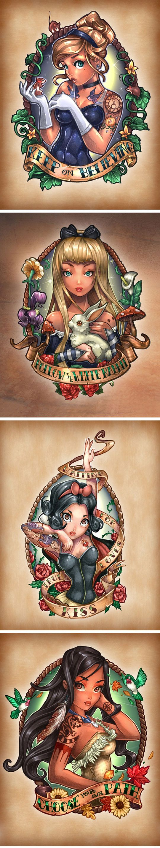 Disney Princesses As Vintage Pin-Up Tattoos  OH MY GOD! Where's Ariel though?