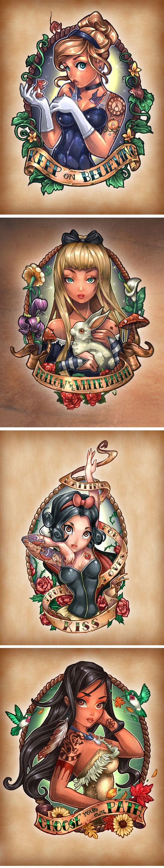 Disney Princesses As Vintage Pin-Up Tattoos