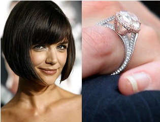 Katie Holmes wrapped this 5 carat oval diamond with a platinum band around her delicate finger. The ring is the perfect embodiment of the classy and sophisticated Katie, with it's perfect cut and right amount of glint.
