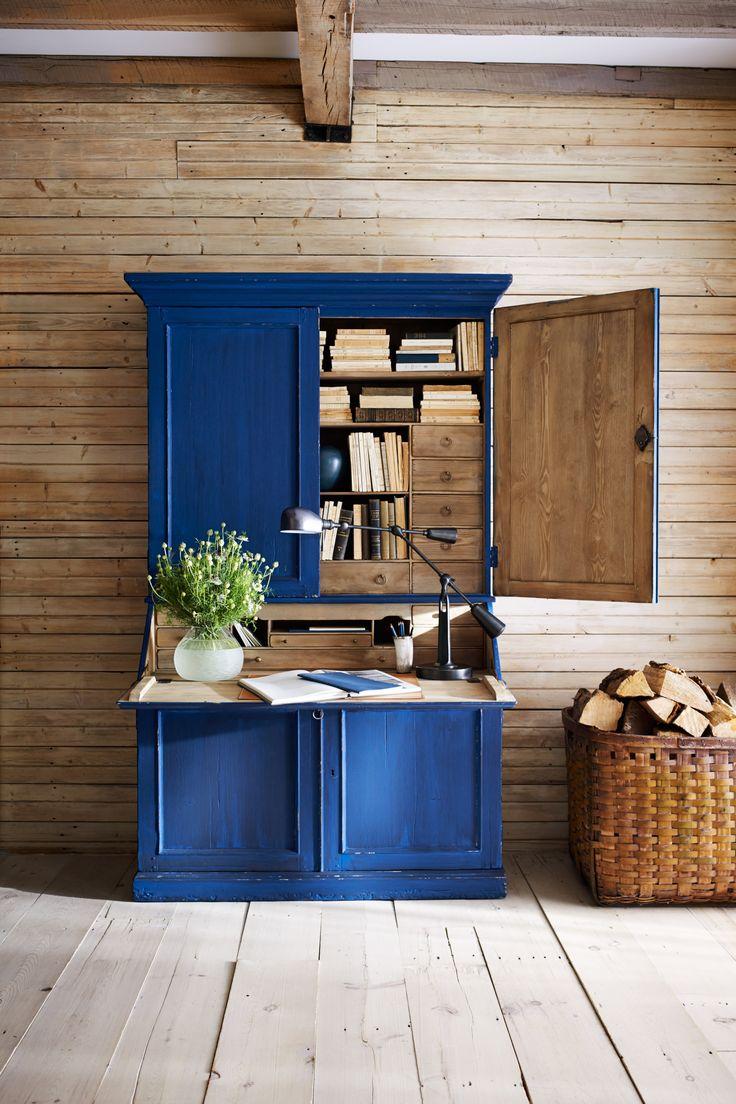 Ralph Lauren Home's nineteenth century-inspired indigo secretary, crafted in pine
