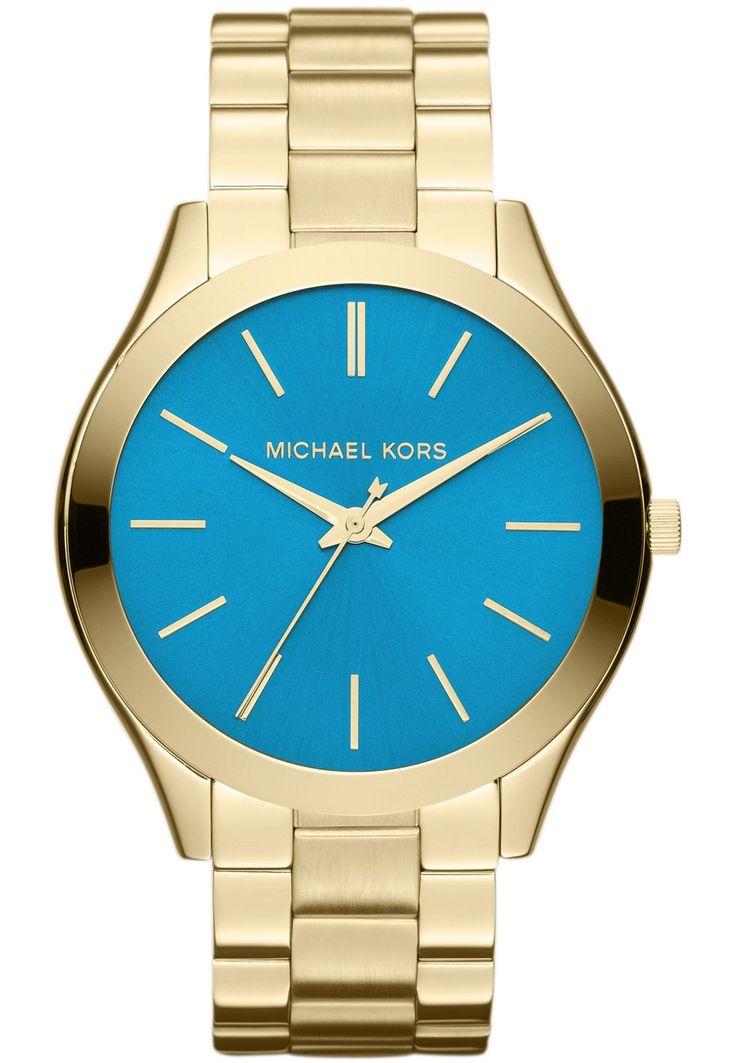 Eksklusivt og trendy dameur i guld med turkis urskive - Michael Kors Runway Slim Gold / Turquoise MK3265