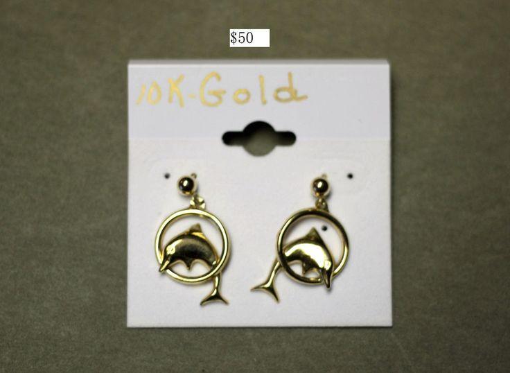 10K Gold Dolphin Earrings | eBay