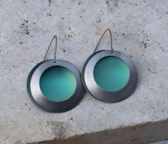 Silver green peacock eye dangles,titanium earrings from Arpelc Blue Titanium Jewelry by DaWanda.com