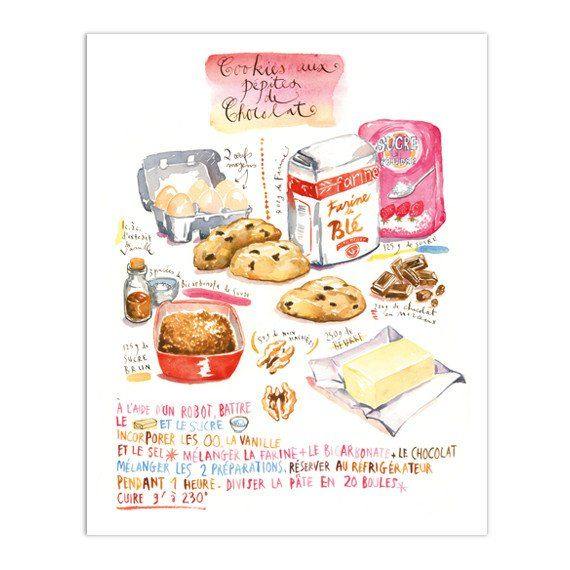 Chocolate chip cookie recipe in french - Cookies aux pépites de chocolat Watercolor recipe print