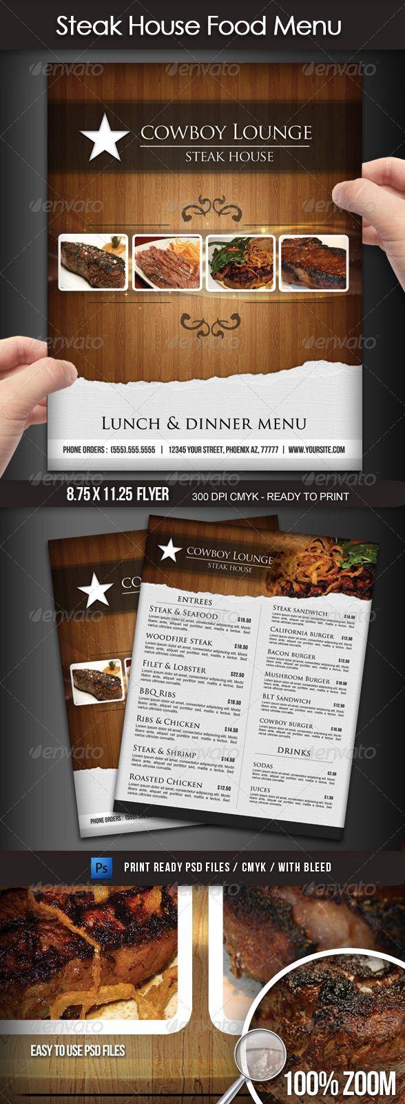 Steak House Menu Flyer #elegant restaurant menu #8.5x11 #PSD • Click here to download ! http://graphicriver.net/item/steak-house-menu-flyer/1721529?s_rank=119&ref=pxcr