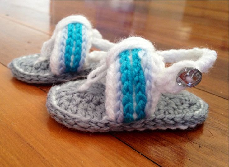 A personal favourite from my Etsy shop https://www.etsy.com/au/listing/216392360/crochet-baby-sandlesflip-flops