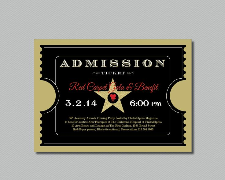 Printable - Red Carpet Gala - Hollywood - Oscars/Academy Awards Viewing Party - Admission Ticket Invitation by maddieandmarry on Etsy https://www.etsy.com/listing/159744689/printable-red-carpet-gala-hollywood