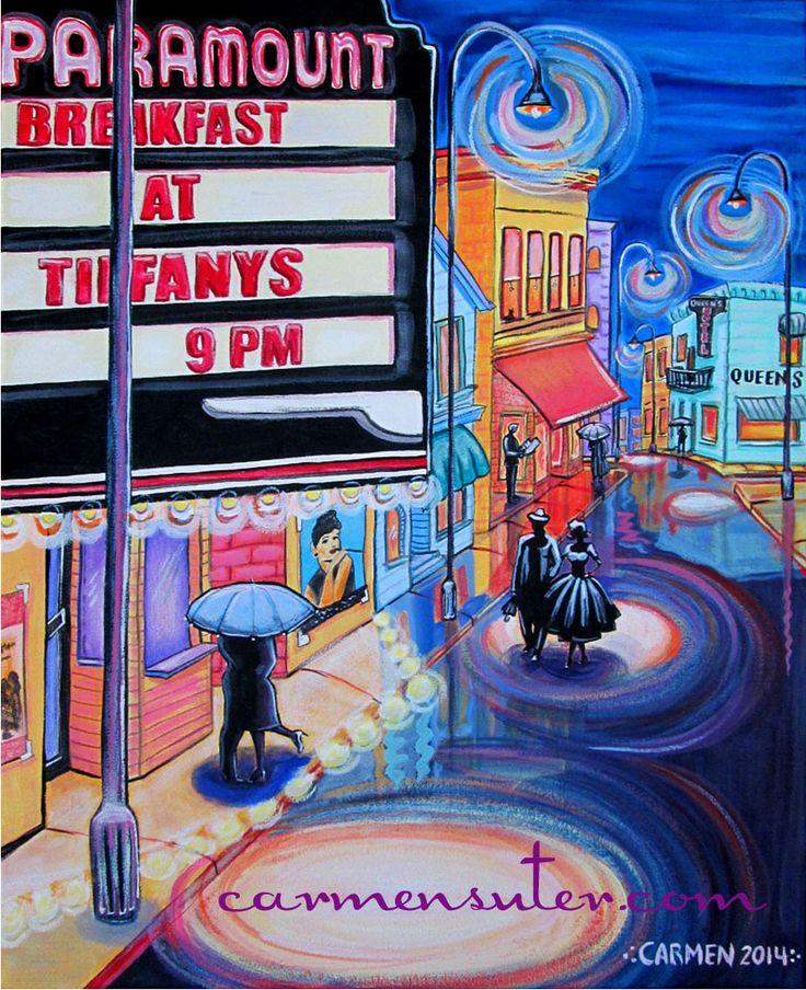 """Movie Night"" Retro Painting by Carmen Suter-Whimsical Artist"
