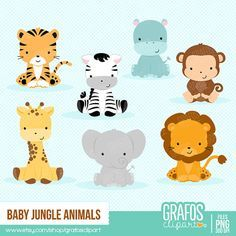 $5 -- BABY JUNGLE ANIMALS Digital Clipart set -You will receive: • 7 Individual Graphics
