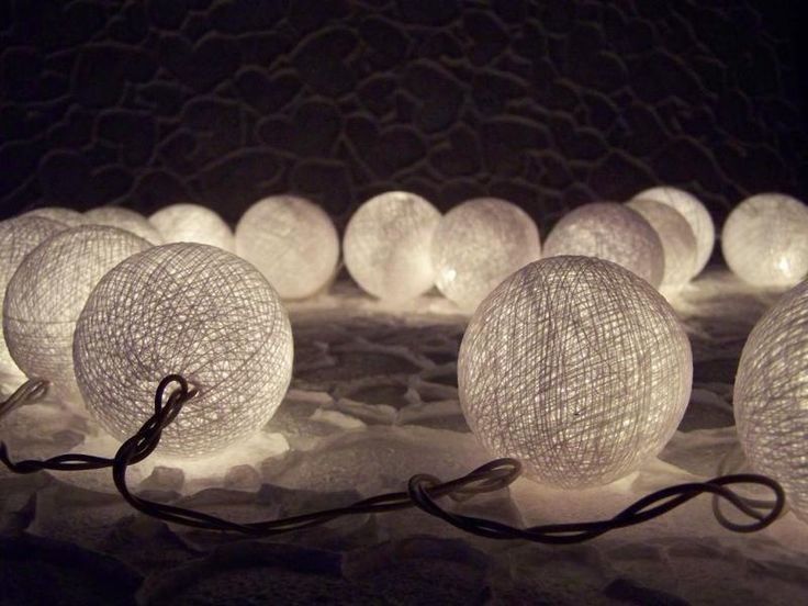 Decorazioni luminose - ghirlanda di luces, palle di cotone - un prodotto unico di Siamrose su DaWanda