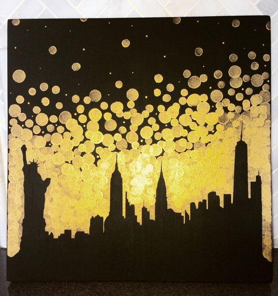 New York City Skyline Painting//Statue of by GreenOnTheVineDesign