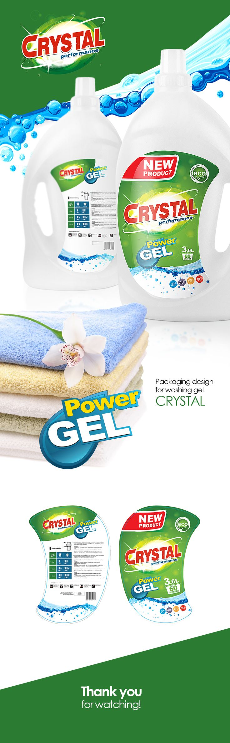 Packaging design for washing gel on Behance