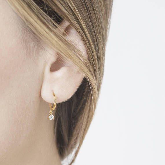 925 Sterling Silver CZ Hoop Earrings,Dainty Hoop Earrings,Minimalist Dangling CZ Huggie Hoop Earrings,Tiny Gold Hoops,Dainty Hoops Gold,Hoop