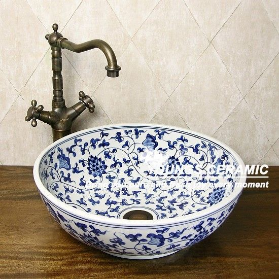 Jingdezhen Handbemalte Blaue Und Weiße Porzellan Keramik Waschbecken Waschbecken-in Bad Eitelkeiten aus Badezimmer auf m.german.alibaba.com.