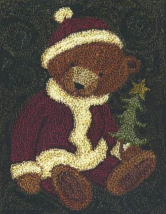 TK 073 Santa Bear $14.95 primitive teddy bear punch needle pattern