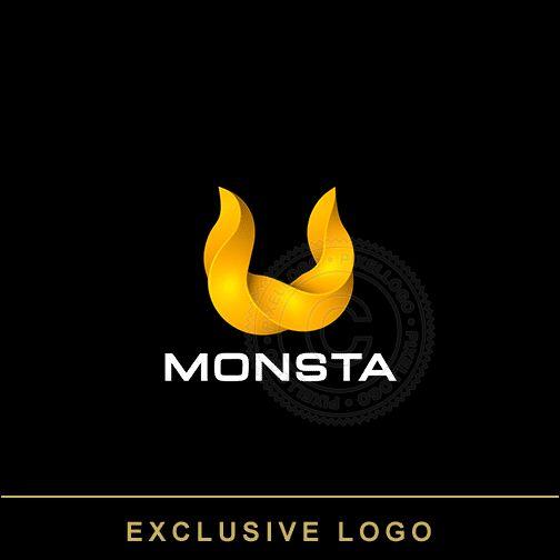 Horn Logo, Ram Horn, devils Horns logo, monster logo, 3D-1088