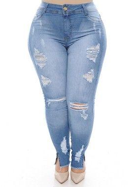 145a38098 Calça Cigarrete Jeans Plus Size Damary   royalty em 2019   Cigarrete ...