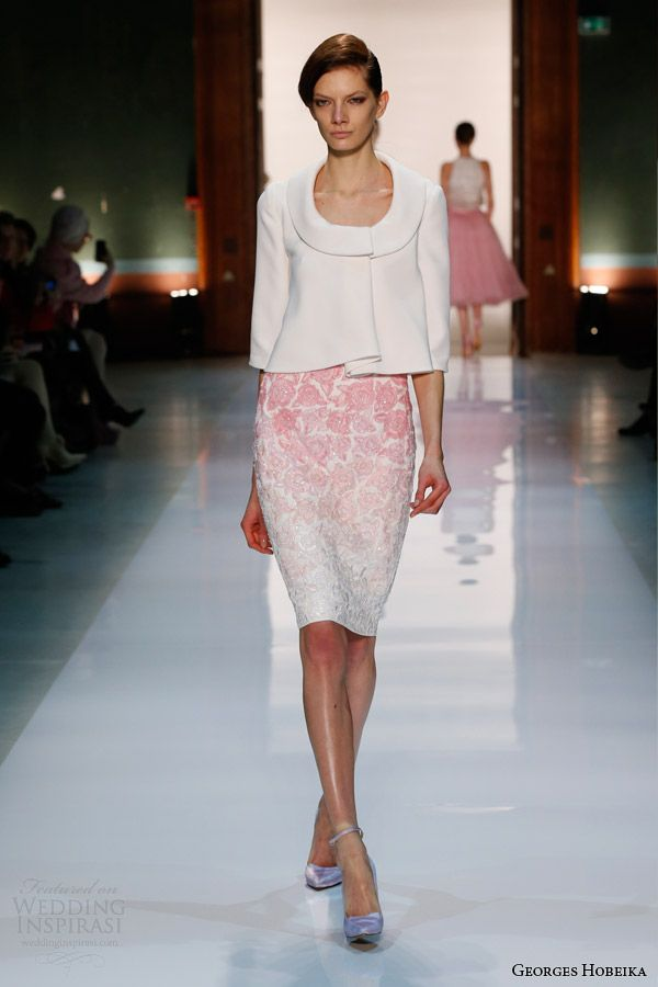 georges hobeika spring summer 2014 couture jacket ombre pink skirt