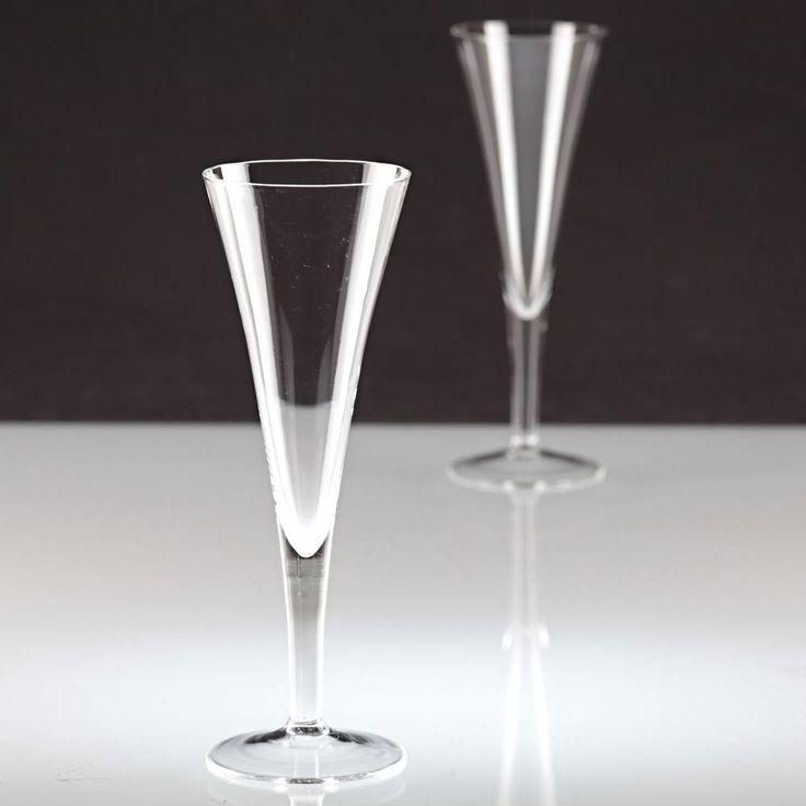 2 schlichte Vintage Sektgläser Sektkelche Sektglas innen gewellt Glas ~ 20er K60