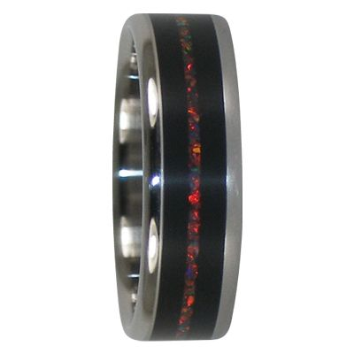 6 mm Unique Mens Wedding Bands in Black Wood and Lab Red Opal Inlay, Titanium - RR111H