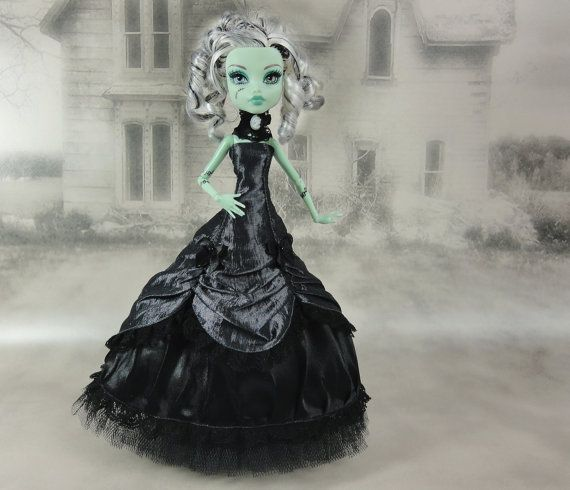 Dark gray and black victorian dress with a cameo lace choker hand made fits Monster High doll