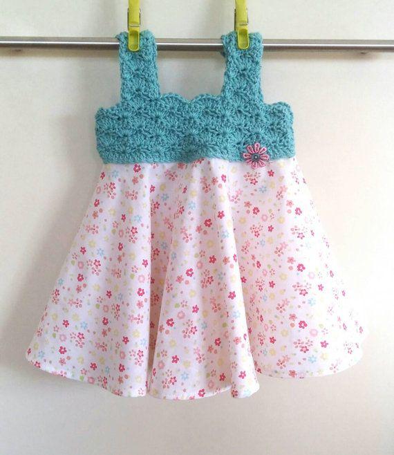Baby girl size 00 Crochet bodice dress by EmmaJaneHandmade on Etsy