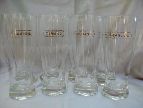 8 1950's Gold Engraved Carling Beer Glasses Mancave by Gem2thei, $35.00