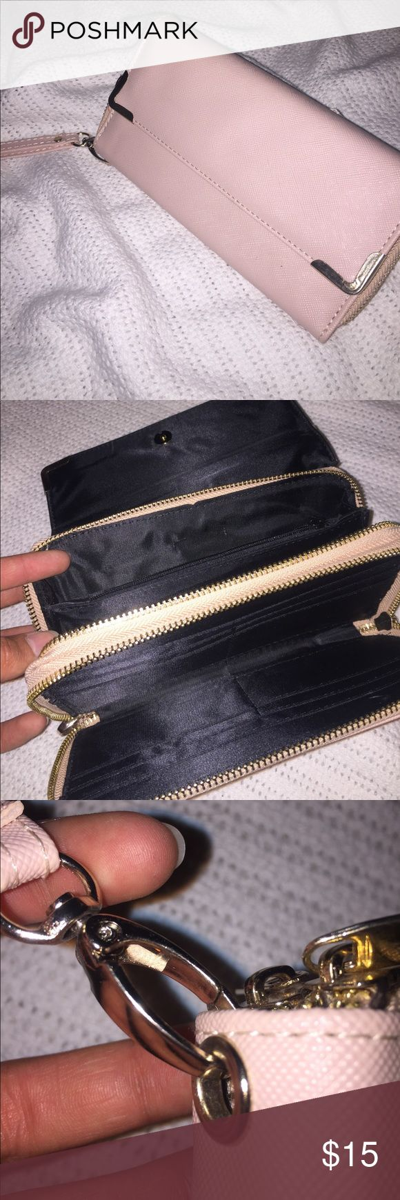Pink clutch bag Only has been used once and is in really good condition. Nothing wrong with it just never really use it. Bag has two compartments that do close with zippers. Offers welcome!(: Bags Clutches & Wristlets