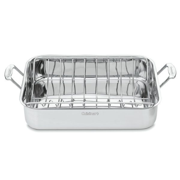 Cute This gleaming stainless steel roasting pan is large enough to handle a big Thanksgiving turkey and perfect for slow roasting root vegetables
