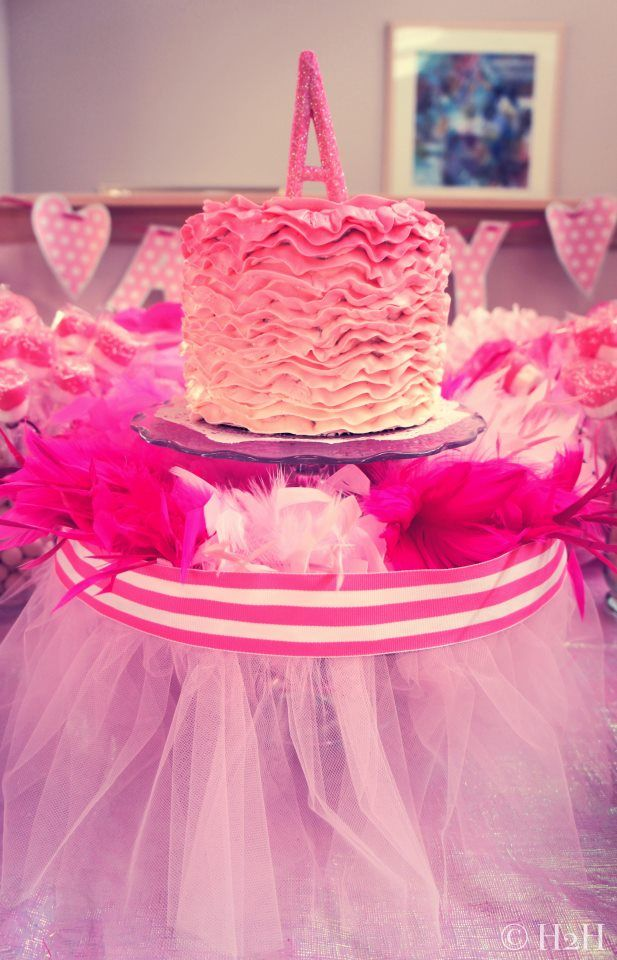 Ruffled Ombre Smash Cake for a Tutu-themed Party- #firstbirthday: Tutu Them Parties, Smash Cakes, Birthday Parties, Ruffles Cakes, 1St Birthday, Projects Nurseries, Ombre Smash, Cakes Stands, Birthday Ideas
