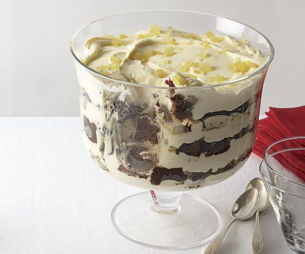 This Christmas trifle has layers of gingerbread cake, chopped crystallized ginger, and a creamy filling spiked with brandy, sparkling wine, and black tea.