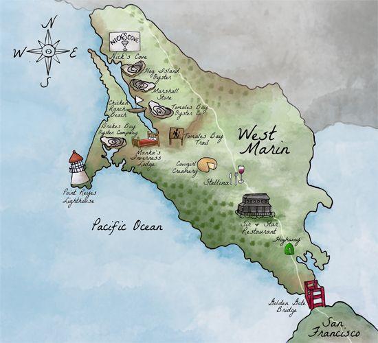 Marin map illustration