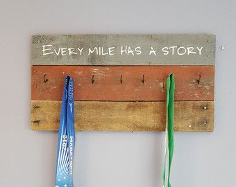 Every mile has a Story medal display wood medal by AnnGeeWoodSigns