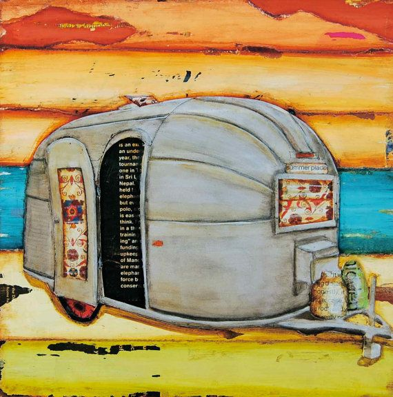 Airstream RV vintage retro camper at beach  by dannyphillipsart, $18.00