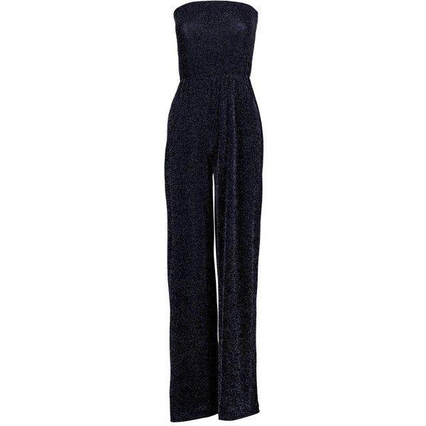 Boohoo Beth Strapless Wide Leg Sparkle Jumpsuit | Boohoo (47 AUD) ❤ liked on Polyvore featuring jumpsuits, boohoo jumpsuits, blue jumpsuit, blue jump suit, wide leg jumpsuit and sparkly jumpsuit