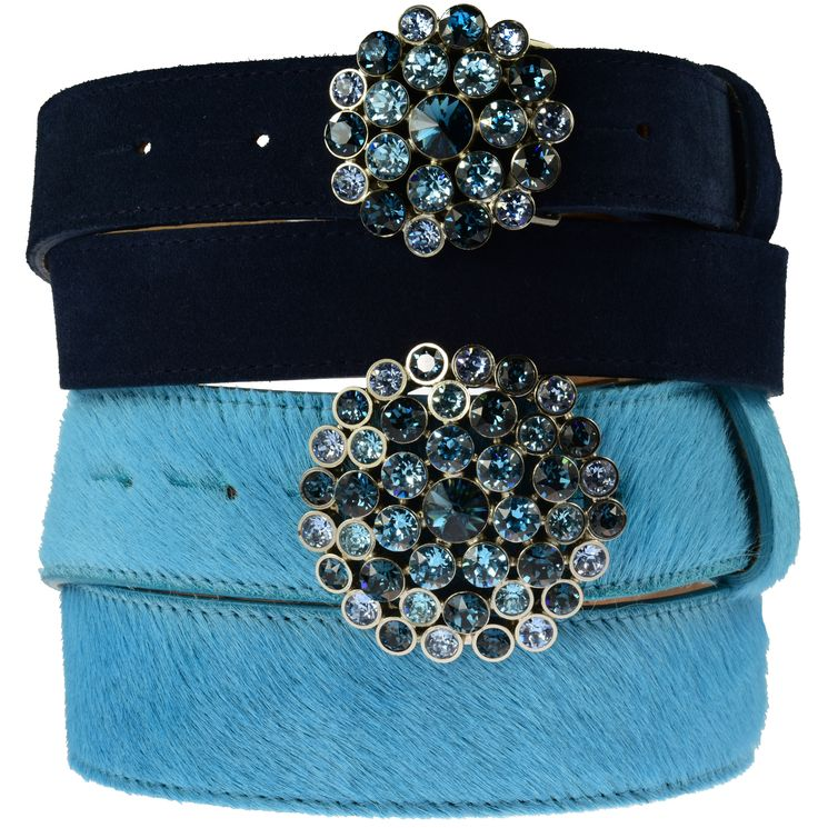 Big & Little Blue Swarovski crystal waterlilly buckle for 30 & 40mm belts, £85 & £70, also available in leopard stones.